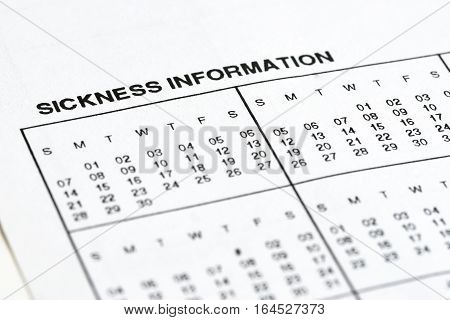 Sickness information form paperwork and questionnaire for work concepts.