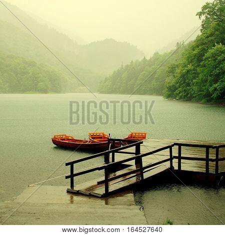 Rain falls upon the lake in National Park