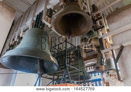 Inside bell tower in Saint Michael's Golden-Domed Cathedral in Kyiv, Ukraine, Europe. Ancient Church bells