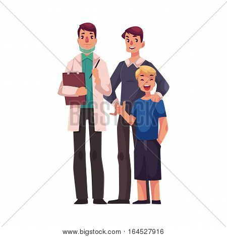 Family doctor with father and son standing together, cartoon vector illustration isolated on white background. Full length portrait of family male doctor in white lab coat, teenage boy and his father