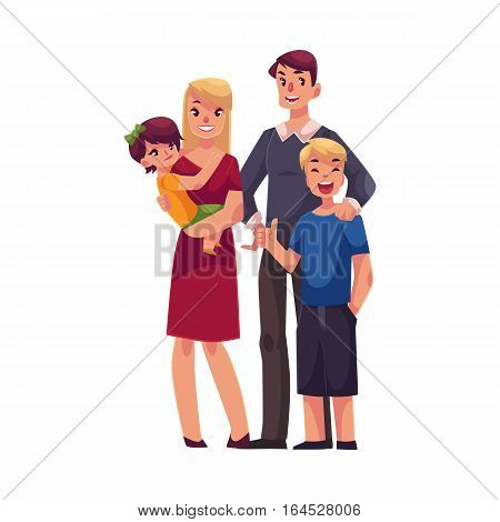 Family portrait of father, mother, daughter and son standing together, cartoon vector illustration isolated on white background. Full length portrait of family couple with two kids - boy and girl