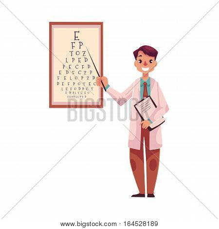 Optometrist doctor standing and pointing to a letter on eye examination chart, cartoon vector illustration isolated on white background. Male optometrist, eye desease specialist