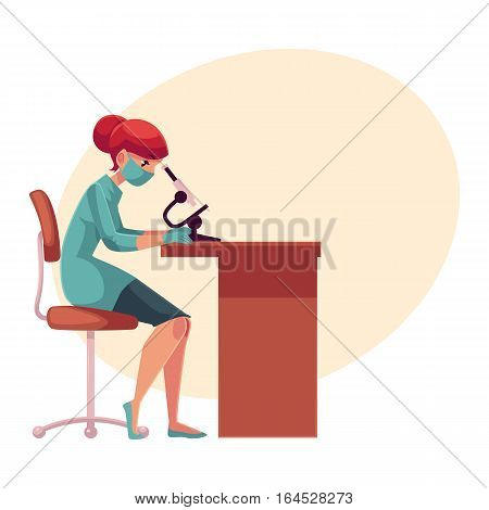 Lab, laboratory assistant, technician wearing medical mask and rubber gloves sits at the table and looks into microscope, cartoon vector on background with place for text. Female laboratorian