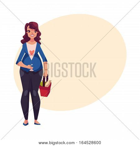 Full length portrait of young pregnant woman with shopping basket, cartoon vector illustration on background with place for text. Beautiful pregnant woman holding shopping basket with food, front view
