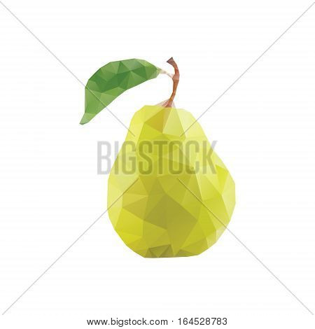 Polygonal pear isolated. Low poly style. Yellow pear