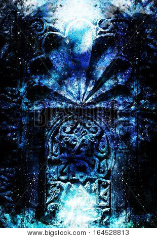 gate portal entrance with ornamental structure in cosmic surroundings. Winter effect