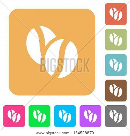 Coffe beans flat icons on rounded square vivid color backgrounds.