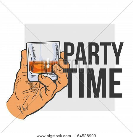 Hand holding full glass of whiskey, colored sketch style vector illustration isolated on white background. Hand drawing of a male hand with a shot of rum, whiskey, cognac, party time concept