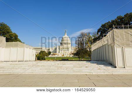 Washington, DC, USA, october 31 2016 The Capitol Building under renovation works