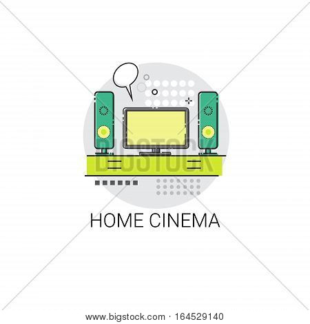 Screen Tv Home Digital Cinema Audio Speaker Set Icon Vector Illustration