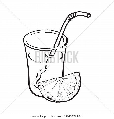 Glass of freshly squeezed juice with piece of orange, sketch vector illustration isolated on white background. Hand drawing of orange and juice, design element for packaging and promo materials