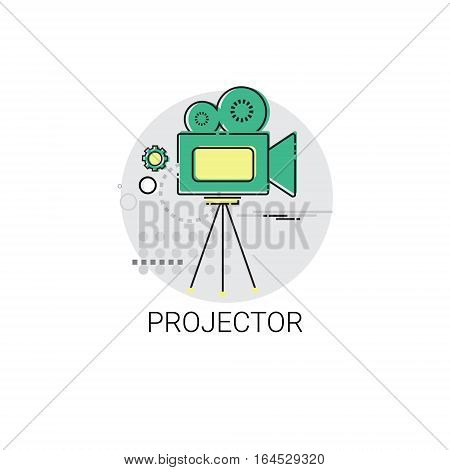 Retro Movie Projector Film Cinema Icon Vector Illustration