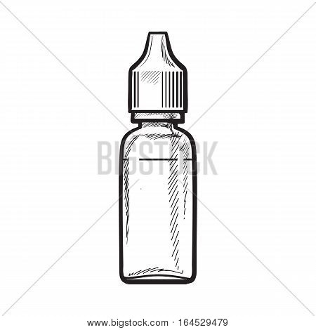 Bottle of e-liquid for electronic cigarette, sketch vector illustration isolated on white background. Realistic hand-drawing of e-cigarette liquid refill in a plastic bottle, smoking attribute