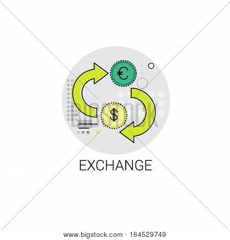 Euro Dollar Coin Money Exchange Finance Icon Vector Illustration