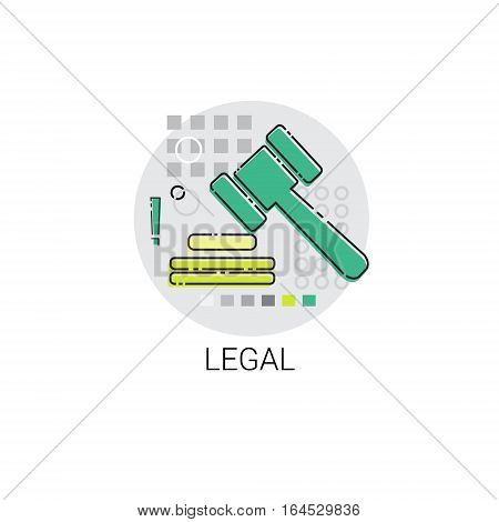 Legal Judge Mallet Legacy Icon Vector Illustration