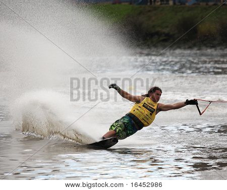 MELBOURNE, AUSTRALIA - MARCH 8: Marcus Brown in the slalom event at the Moomba Masters on March 8, 2010 in Melbourne, Australia