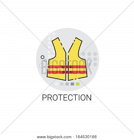 Workman Protection Clothes Building Construction Engineering Icon Vector Illustration