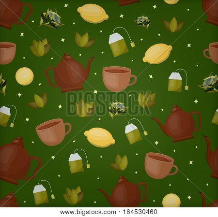 Vector cartoon seamless pattern of tea theme for gift wrapping paper, covering and branding on green background. Concept of asian drink and tea ceremony.