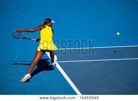 MELBOURNE - JANUARY 23: Venus Williams during her third round match against Casey Dellacqua during the 2010 Australian Open on January 23, 2010 in Melbourne, Australia