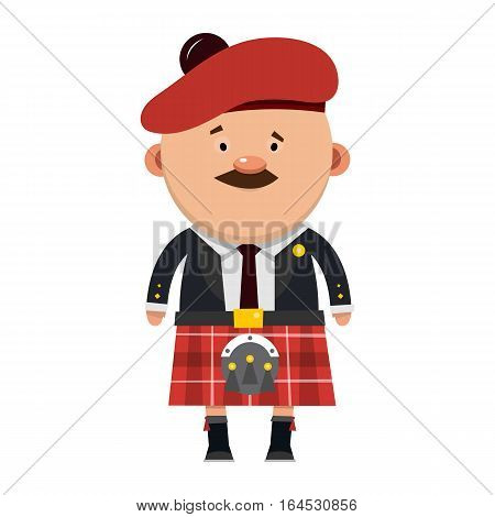 Scottish male with a mustache in a kilt. Vector illustration isolated on white background.