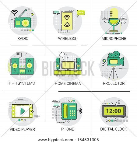 Video Player Entertainment Radio Wireless Connection Icon Set Vector Illustration