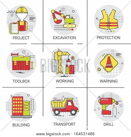 Industrial Icon Set Building Project Construction Engineering Toolbox Vector Illustration