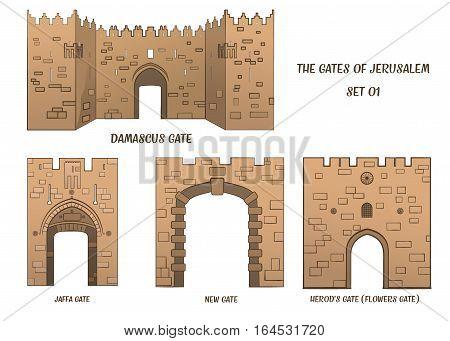 The gates of the Old City of Jerusalem, set 1. Raster illustration