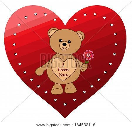 A vector illustration of a Valentine's Day teddy bear, with a heart on its front with the message