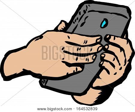 Hands Typing On Smart Phone