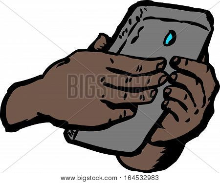 Hands Text Messaging On Phone