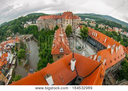 Cesky Krumlov - fish eye view from castle tower, Southern Bohemia, Czech Republic, Europe. UNESCO World Heritage Site