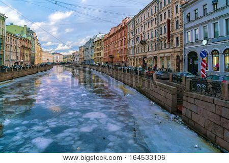Griboyedov Canal At Winter, Saint Petersburg, Russia