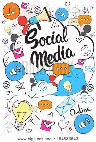Social Media Communication Concept Internet Network Connection People Doodle Hand Draw Sketch Background Vector Illustration