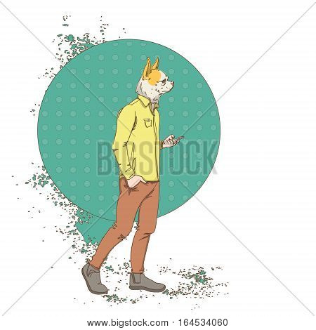 Cartoon Dog Hipster Use Cell Smart Phone Wear Fashion Clothes Retro Abstract Background Vector Illustration