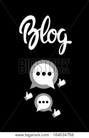 Chat Blog Content Blogging Concept Flat Vector Illustration