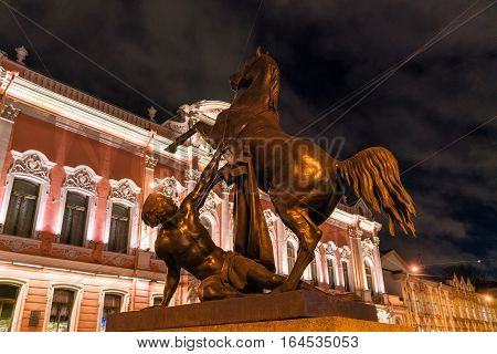 Horse Tamers Bronze Statues Of Anichkov Bridge In Saint Petersburg