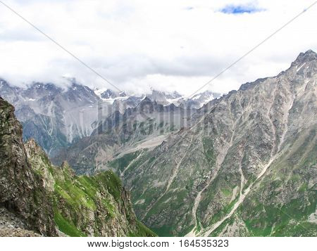 Mountain landscape in the area of Mount Elbrus. The gorge Adyr-Su Russia