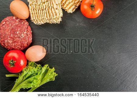 Ingredients For Cooking Ramen Burger