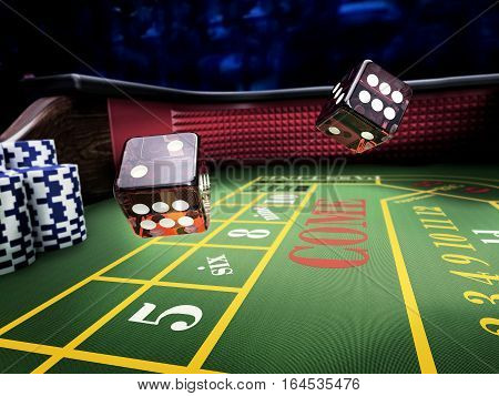 dices thrown on craps table at casino - 3D rendering