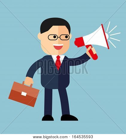 cartoon businessman with a megaphone. Isolated in blue background. Standing hold a megaphone and school bag. Businessman with loudspeaker. Human speaks in the megaphone.