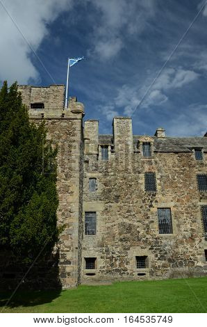 An external view of the main tower building at Elcho castle