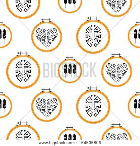 Needlework tribal design on embroidery hoops vector seamless pattern. Handmade needlework hobby background.