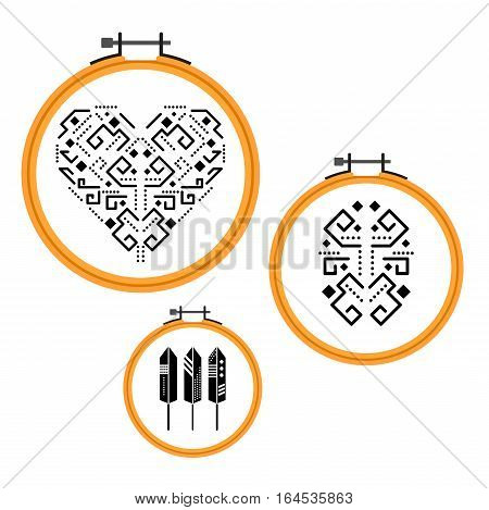 Needlework tribal design on embroidery hoops. Wooden round frames with ethnic black designs vector.