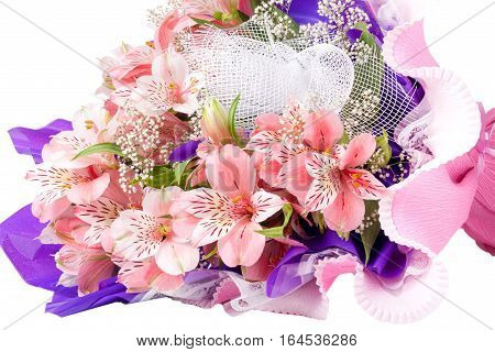 bouquet of alstroemeria isolated on white background closeup.