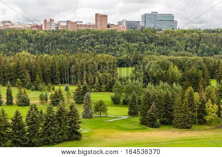 Aerial view of William Hawrelak Park in Edmonton city Alberta Canada