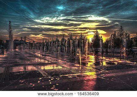paints of the sunset fountain on Moskva River Embankment - about bad there is no wish to think though so much awful happened.