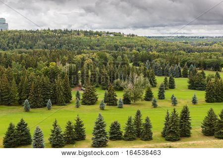 Aerial view of William Hawrelak Park in Edmonton city Alberta Canada
