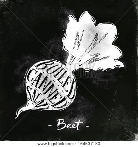 Poster beet cutting scheme lettering boiled canned salad in vintage style drawing with chalk on chalkboard background