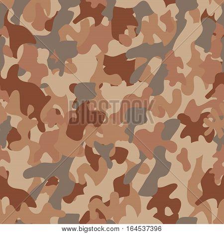 Desert camouflage seamless pattern military equipment print brown beige grey