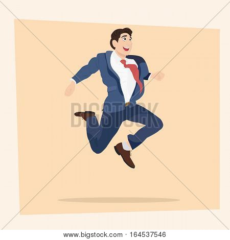 Happy business man is jumping. Vector illustration.